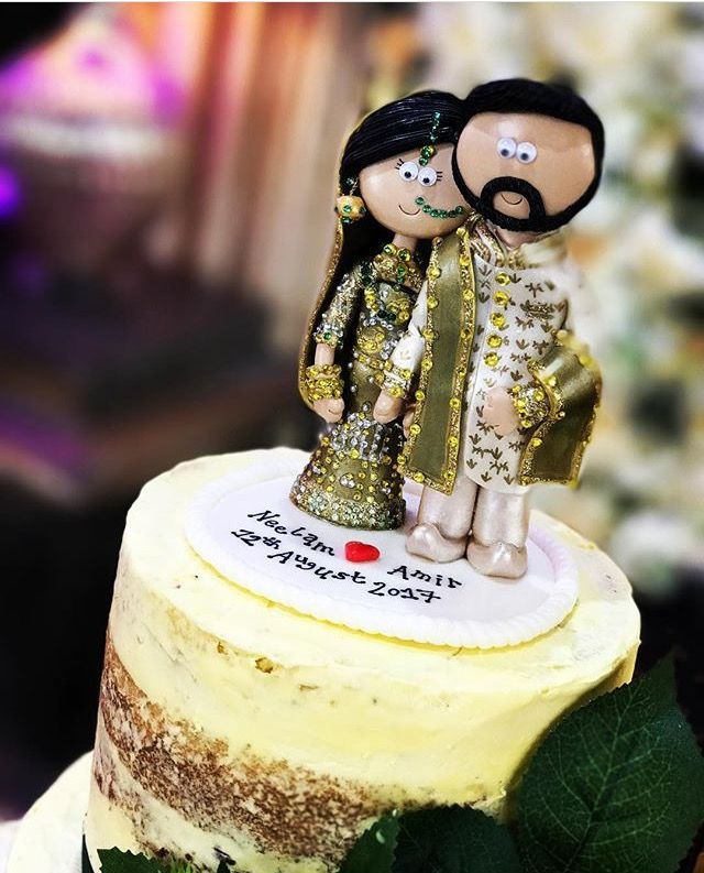 Indian wedding cake toppers, handmade, personalised to look
