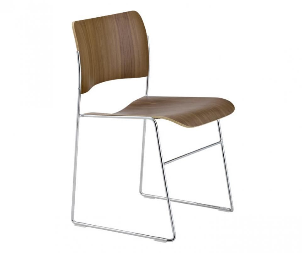 40 4 Side Chair By David Rowland In Walnut Veneer Chromed Frame