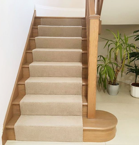 Great To See This One Finished; Oak Stairs With Carpet Runner.