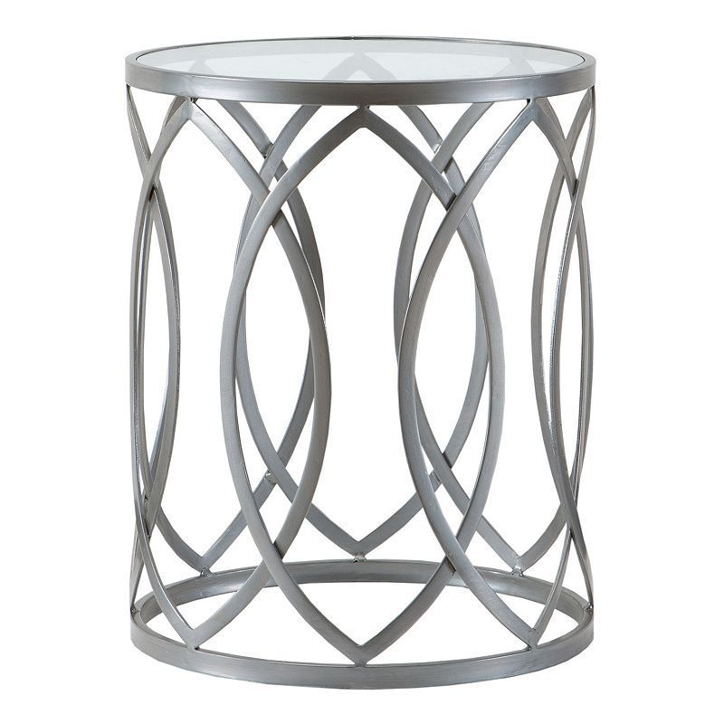 Madison Park Coen Metal End Table Silver Metal Accent Table