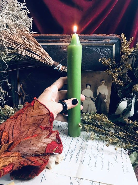 Money Spell, Green Candle, Green Taper Candle, Green Spell Candle, Witch Supplies, Altar Candle, Wit #moneyspells