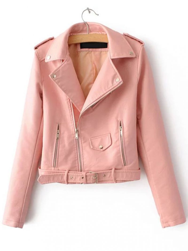 Buy Pink Faux Leather Belted Moto Jacket With Zipper from abaday.com, FREE shipping Worldwide - Fashion Clothing, Latest Street Fashion At Abaday.com