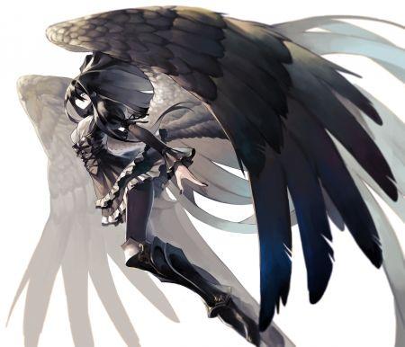 Reiuji Utsuho Wings Beautiful Angel Pretty Beauty Anime Female Girl Lady Woman White Feathers Black Long Hair Anime Angel Girl Anime Angel Anime