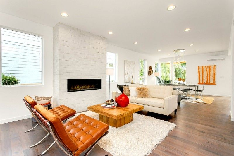 modern accent chairs in yellow white sofa wall and rug wooden coffee ...