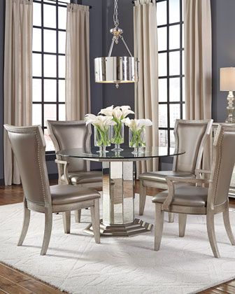 Aria Glass Top Round Dining Table In 2020 Round Dining Room Sets