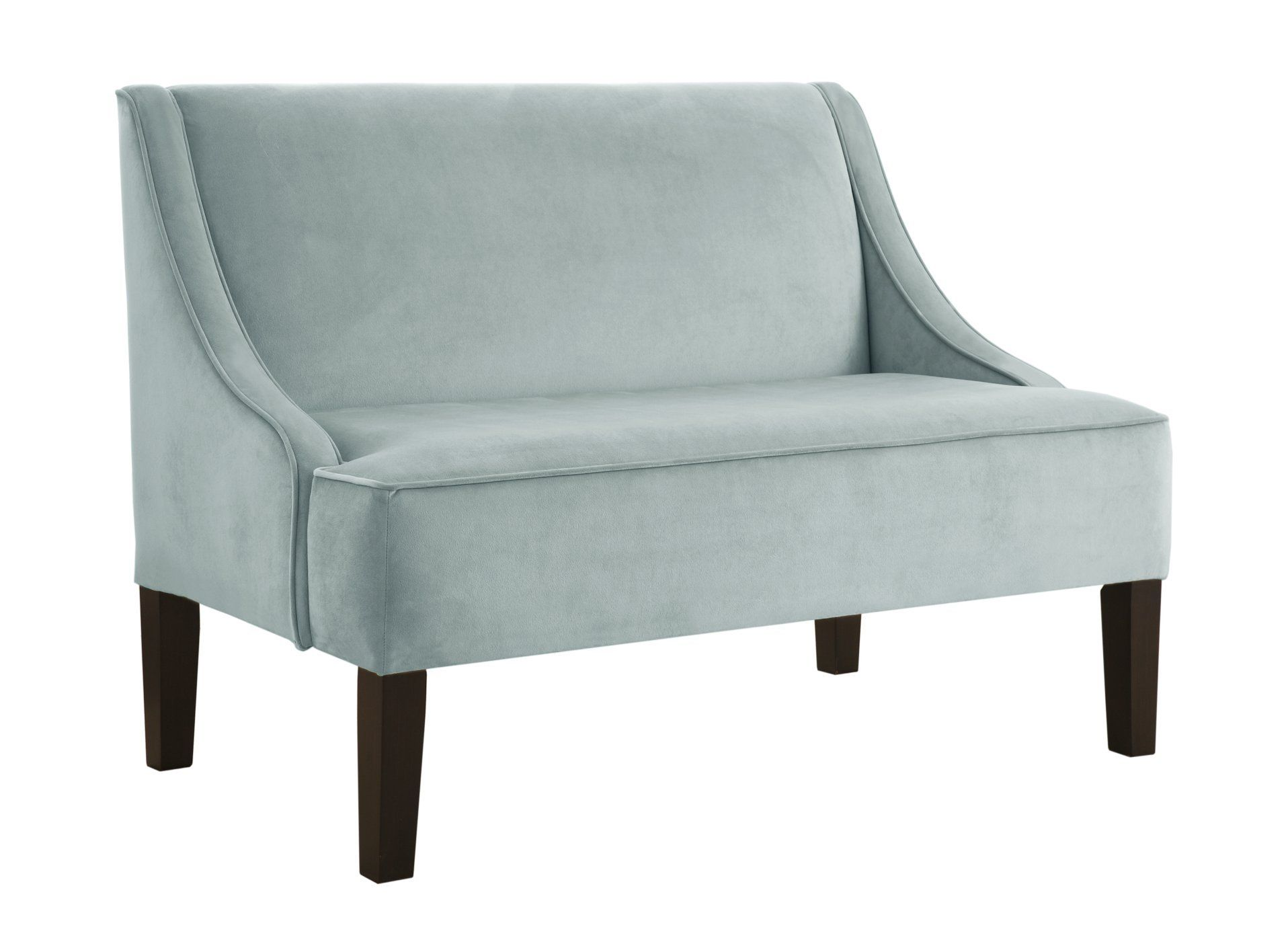 Skyline Furniture Swoop Arm Settee in Velvet Pool