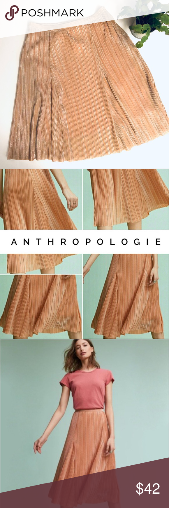 7df16c8e6 MAEVE Ambra Metallic Rosegold sparkle midi skirt M New w Tags Purchased at  TJ Max Maeve by Anthropologie Gorgeous Ambra Metallic Rose gold Camel Tan  sparkle ...