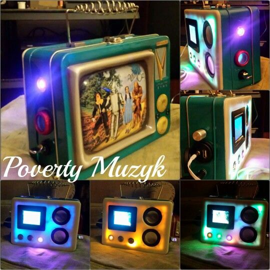 This is a #custom Wizard of Oz #retro #lunchbox #stereo #boombox made by #PovertyMuzyk. It features a fully functional lcd screen, Harmon Kardon speakers, and  led power switches that control a beautiful led display to enjoy while listening to your favorite music.