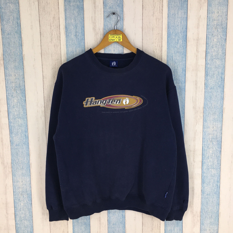HANG TEN Sweatshirt Large Men Black Vintage 80/'s Jumper Crewneck Surfer Hawaiian Pipeline Aloha Da Hui Surfing Sweater Jumper Size L