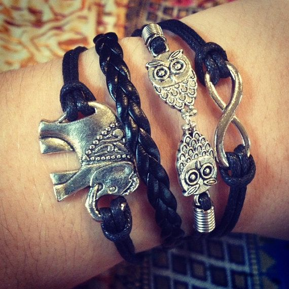 NEW Black Elephant Owls Infinity Bracelet by ForTheWristAndSoul, $10.99