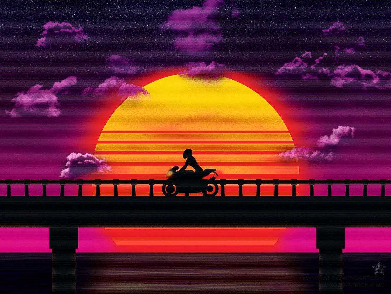 Causeway Bike Sticker Synthwave Vaporwave Outrun 80s Etsy Synthwave Vaporwave Vaporwave Art
