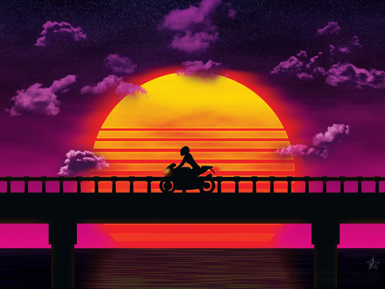 Causeway Bike Sticker Synthwave Vaporwave Outrun 80s Etsy Sy