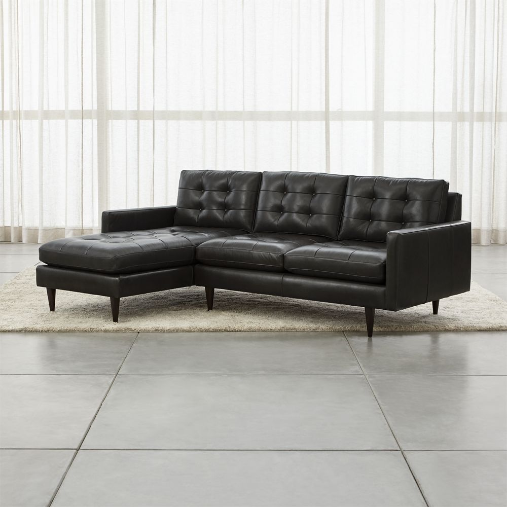 Petrie leather 2 piece left arm chaise sectional sofa crate and barrel