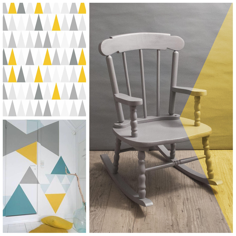 rocking chair vintage en bois pour enfant relook gris. Black Bedroom Furniture Sets. Home Design Ideas