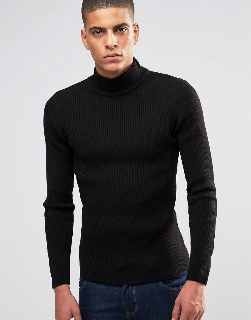 ASOS Muscle Fit Ribbed Turtleneck In Black at asos.com