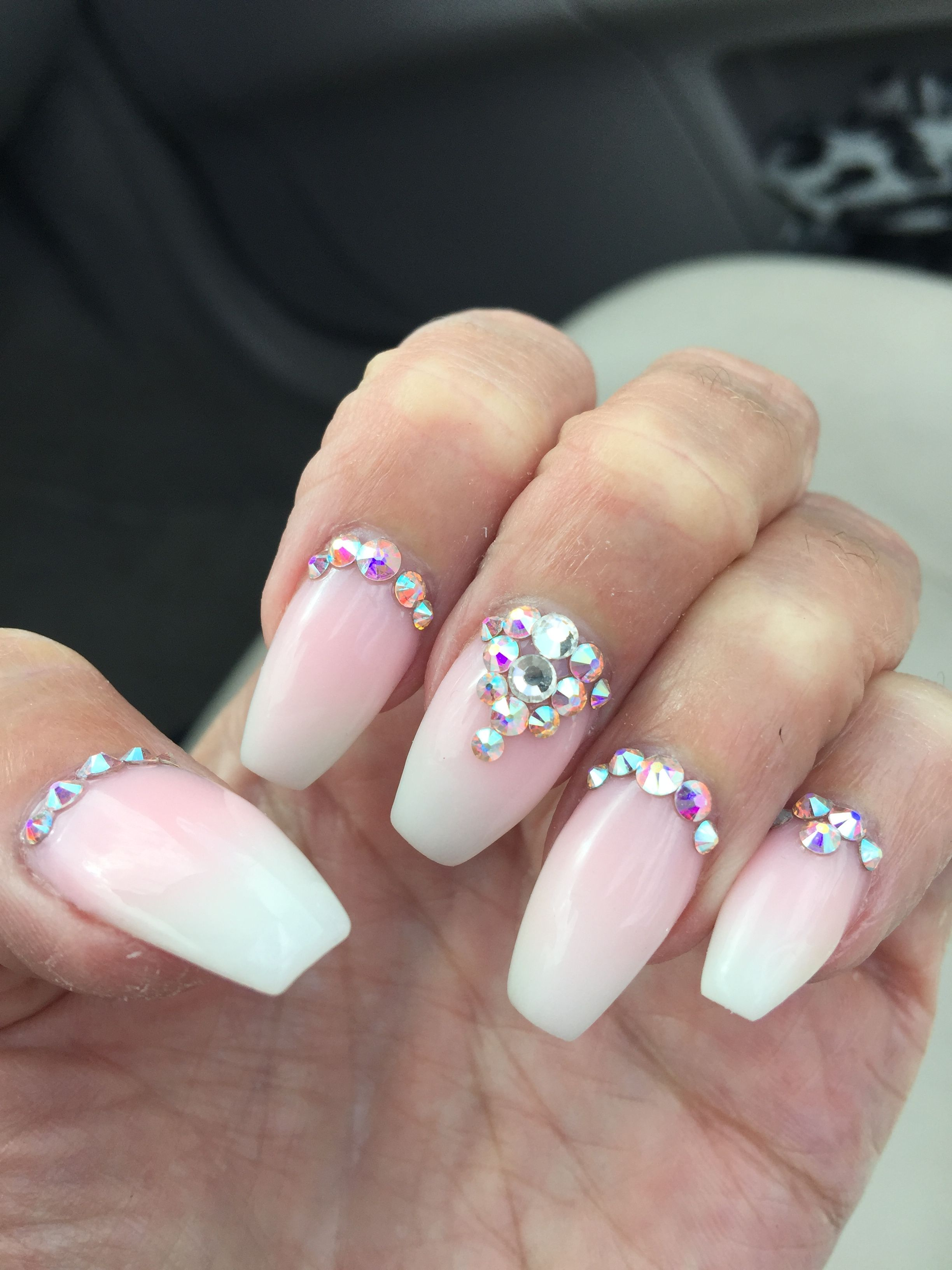 Pale Pink Ombre Nails With Tons Of Rhinestones Did This For My Daughter S Wedding And Received Nails Design With Rhinestones Blush Pink Nails Rhinestone Nails