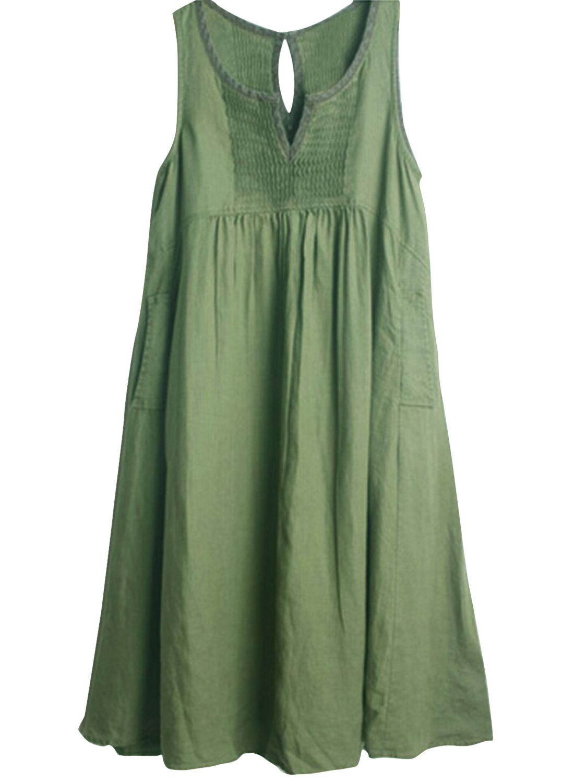 14a105fa6a5ceb Casual Sleeveless A-line Linen Dress With Pockets - OASAP.com