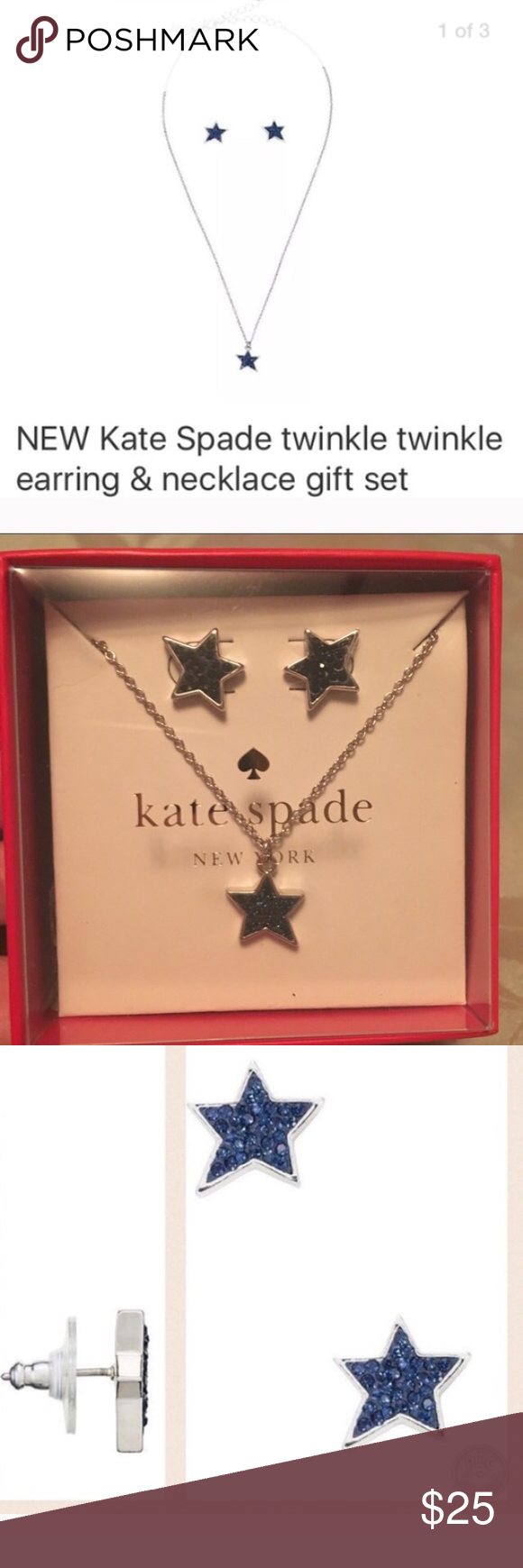NWT Kate spade twinkle earrings & necklace set Boxed set from Kate Spade , silver and blue star . Earrings and necklace kate spade Jewelry Necklaces