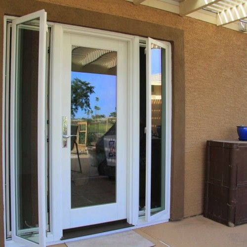 Single patio door with sidelight home patio pinterest for Sliding french doors with sidelights