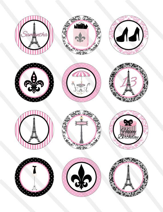 Paris Eiffel Tower Birthday Party 2 Inch Cupcake Toppers