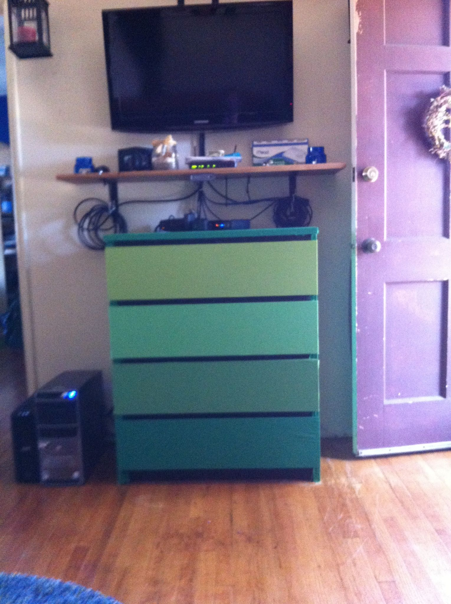 Dresser posing as cabinet in the last place... Covered drawers w ...