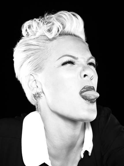 """P!nk """"At 33, she's not just getting by, but kicking ass in this popular music eco system whose veterans struggle within it."""" (www.hitfix.com)"""