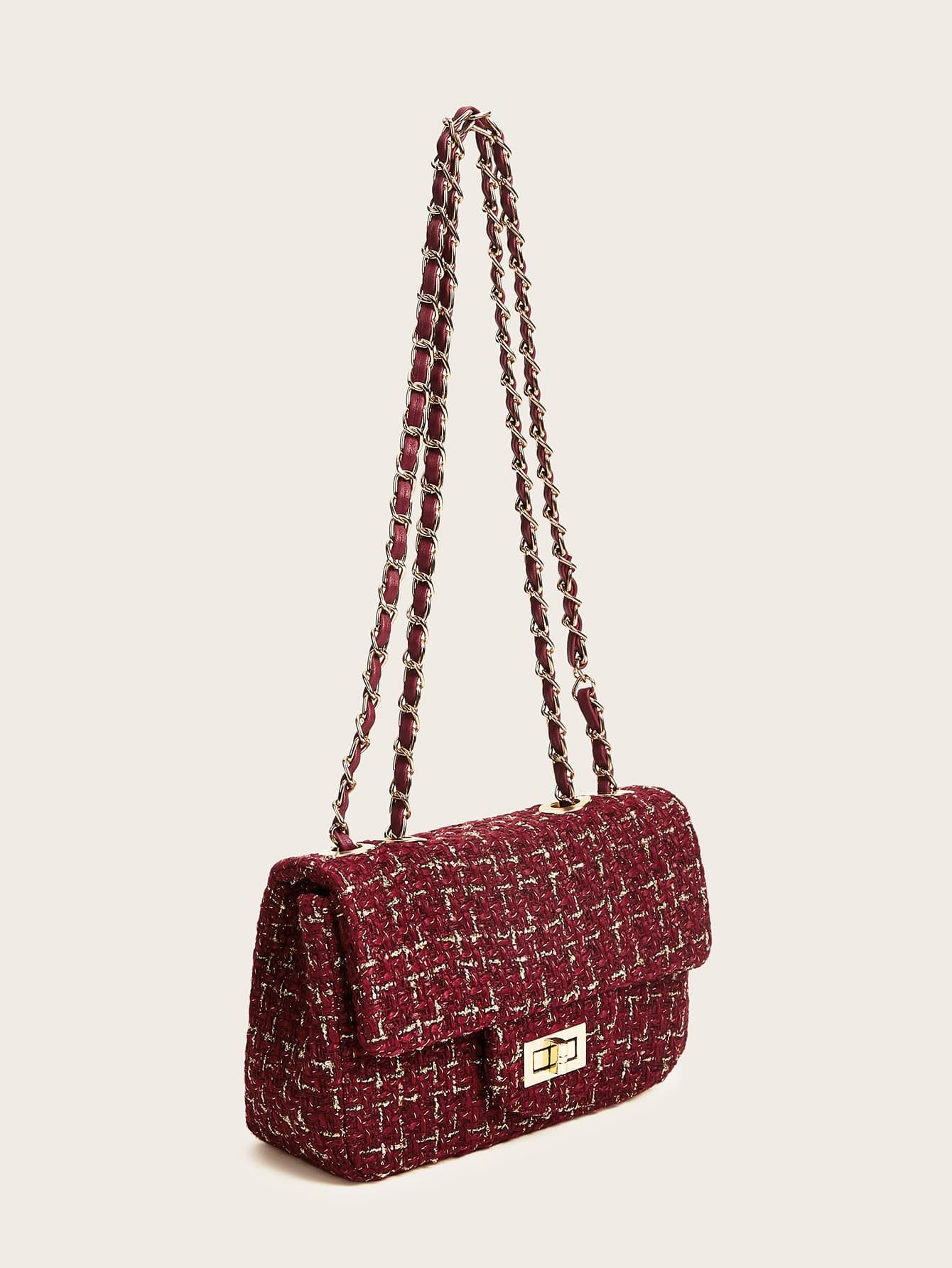 Twist Lock Tweed Chain Bag