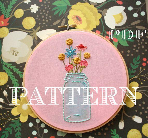 Mason Jar Embroidery Patternbeginner Embroidery Kitinstant