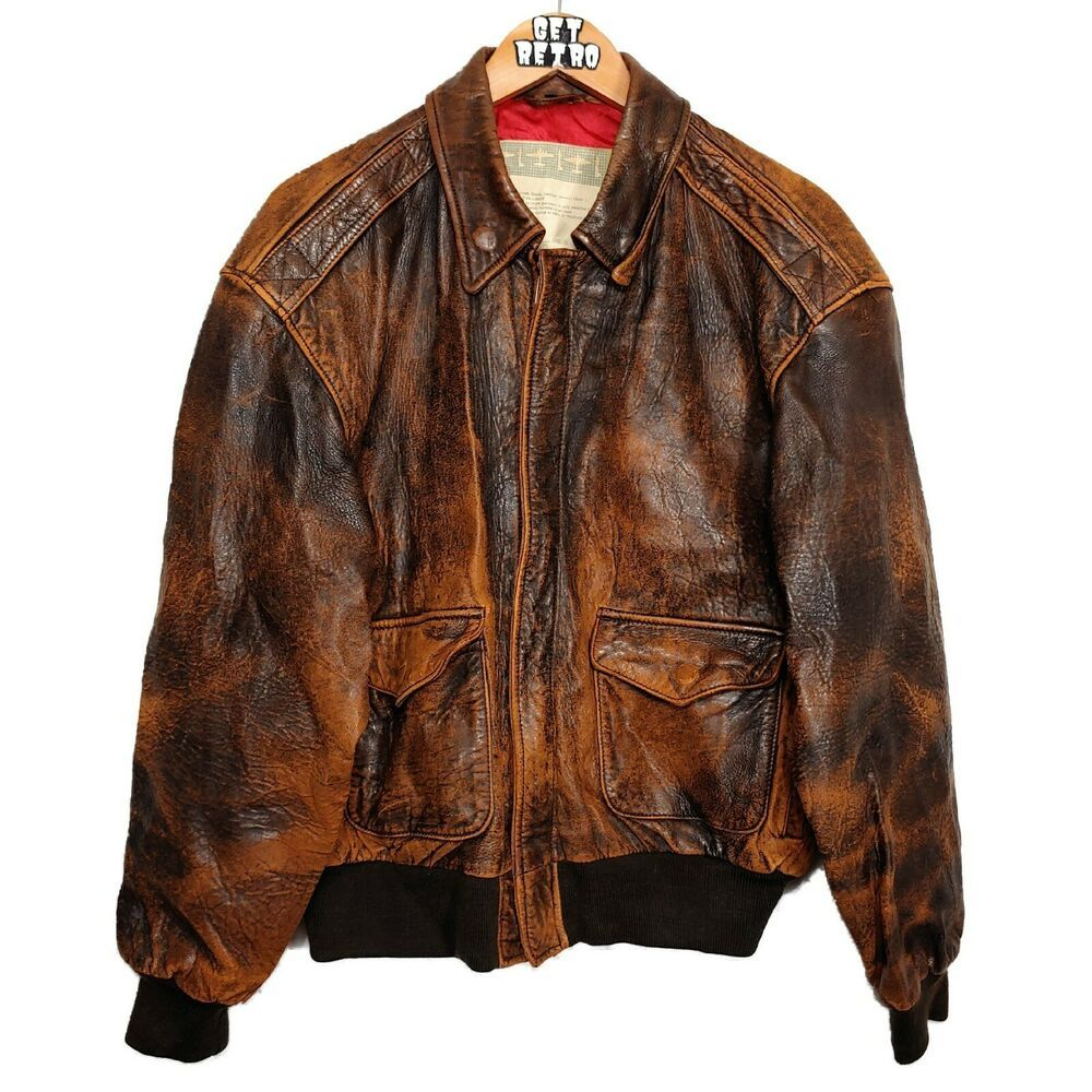 Vtg Great American Pilot Distressed B 17 Flight Leather Jacket Brown Sz M Gap Greatamericanpilot Bomber Cuero [ 1000 x 1000 Pixel ]