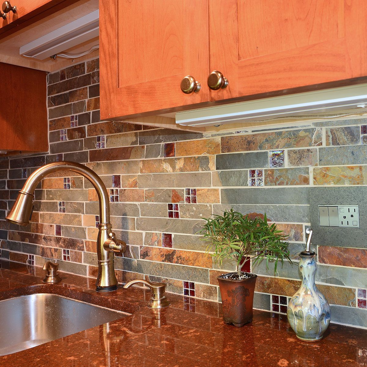 - Subway Slate Glass Mosaic Kitchen Backsplash Tile Glass Kitchen