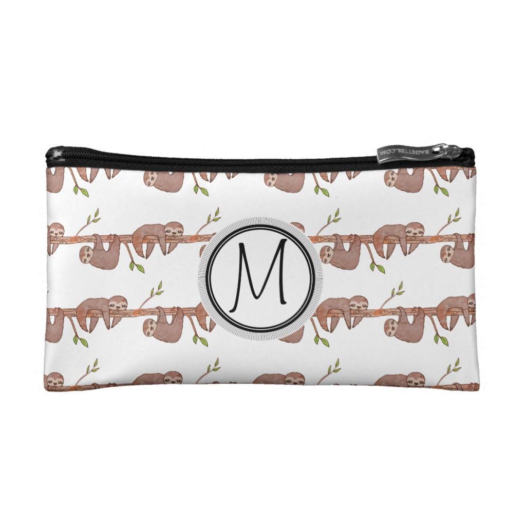 Baby Sloths hanging on Tree Pattern Cosmetic Bag #babysloth