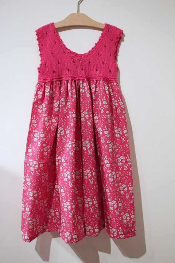 Liberty Hot Pink Dress With Hand Nitted Top Size Di Mammacraftkids