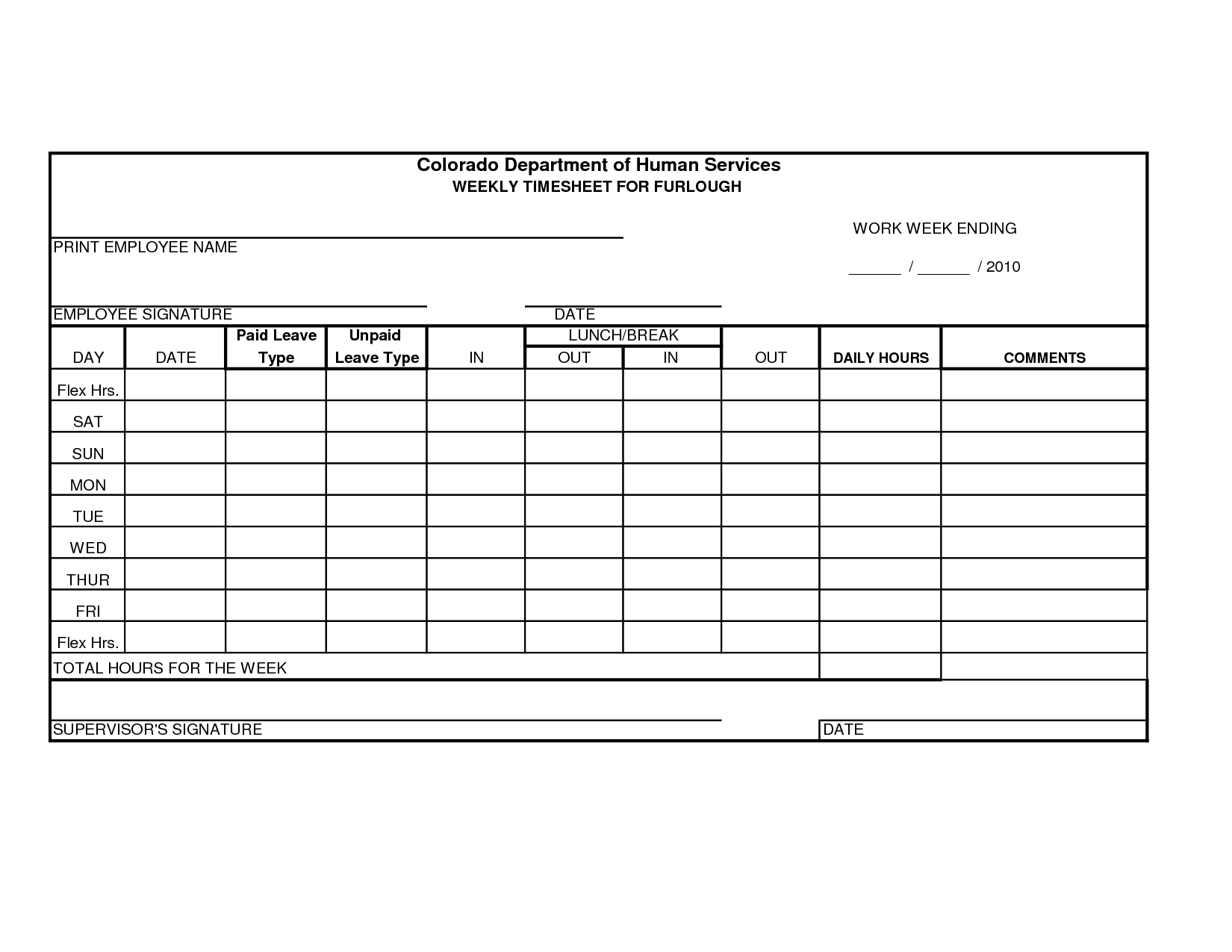 Free Printable Time Sheets Forms