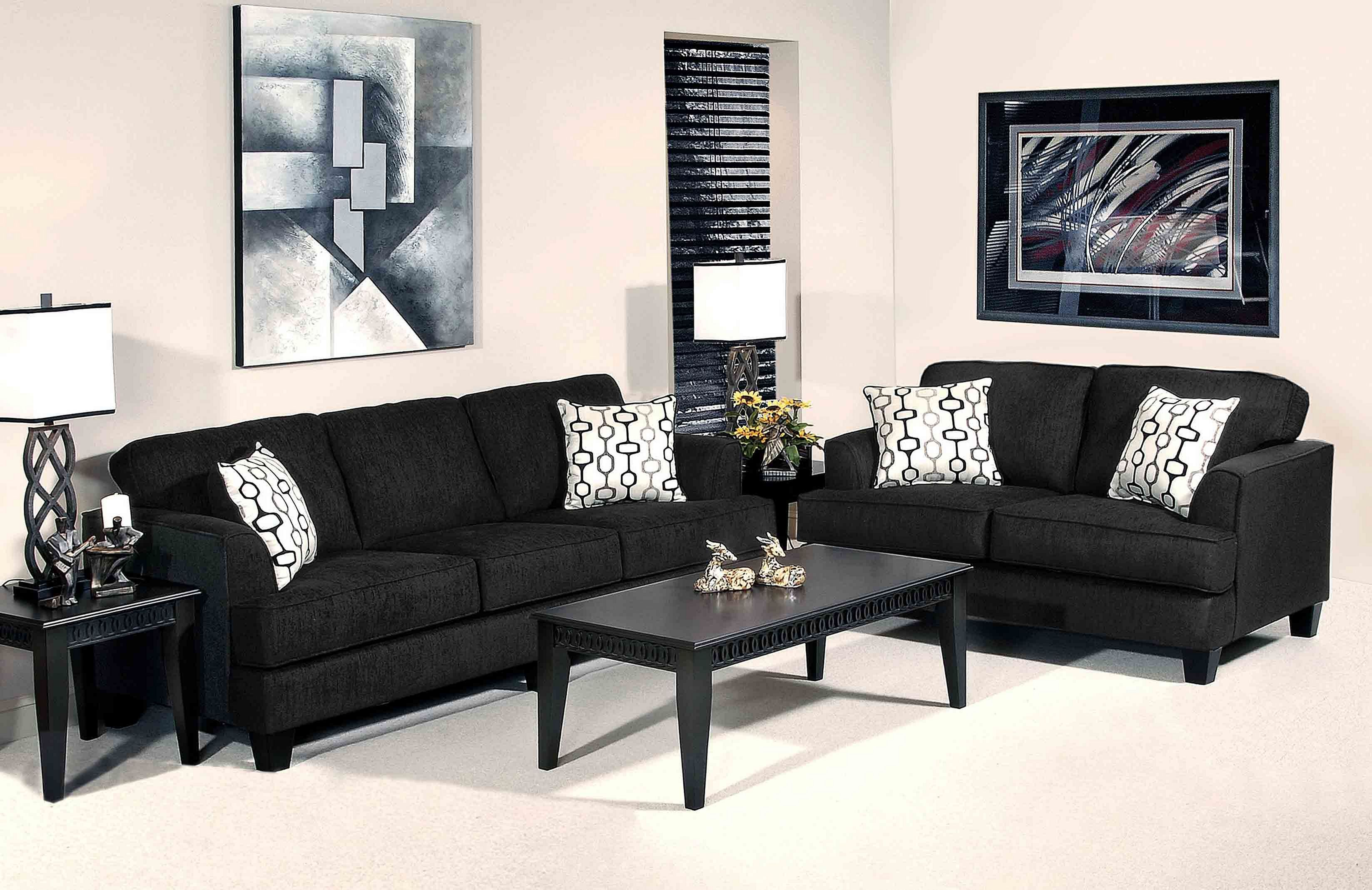 15 most comfortable living room with black sofa design
