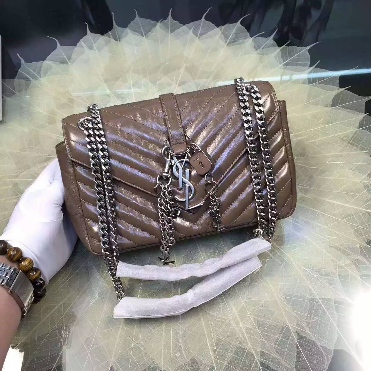 2016 Cheap YSL Out Sale with Free Shipping-Saint Laurent Classic Medium  Baby Monogram Satchel in Khaki Matelasse Leather Silver ba121f06bc740