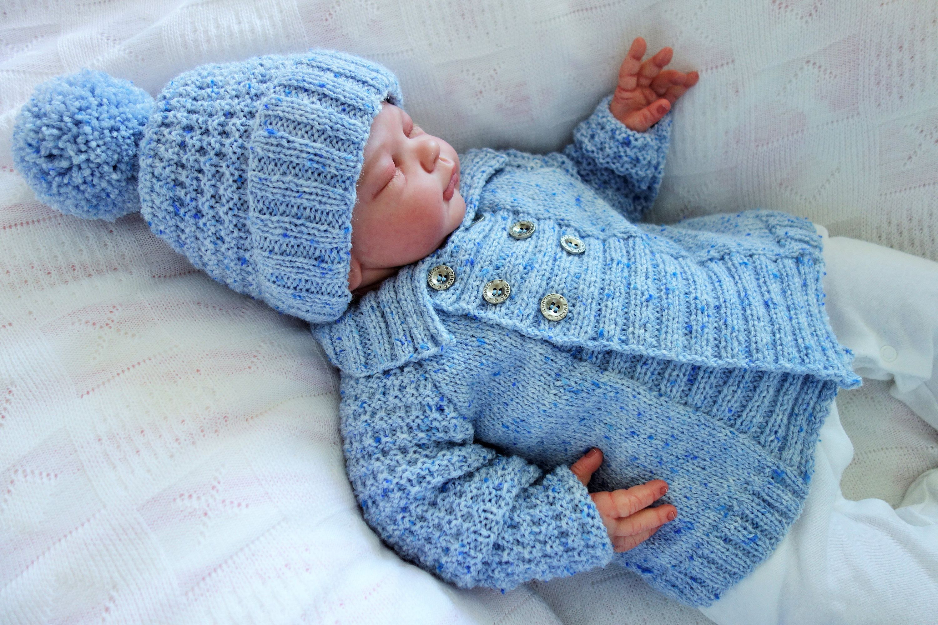 a73f17f4d Hand knitted baby boy s double breasted cardigan sweater with flat ...