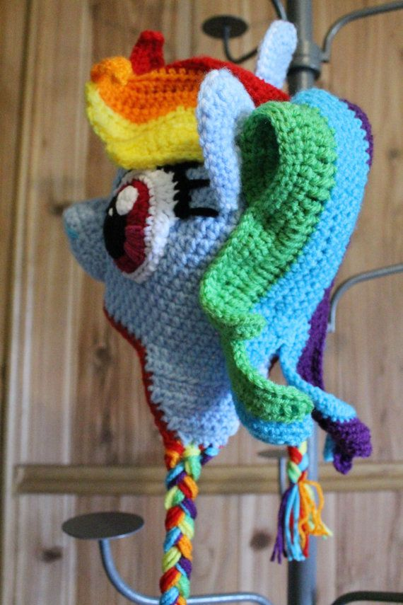 My Little Pony Rainbow Dash Crochet Hat by TOPstitchesCrochet ...