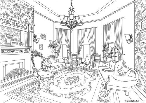Authentic Architecture Victorian Living Room Printable Adult
