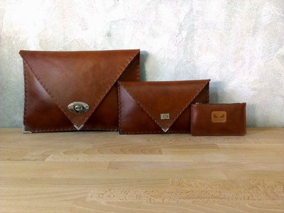Brown Leather clutch / Brown leather bag / Brown by AnaKoutsi