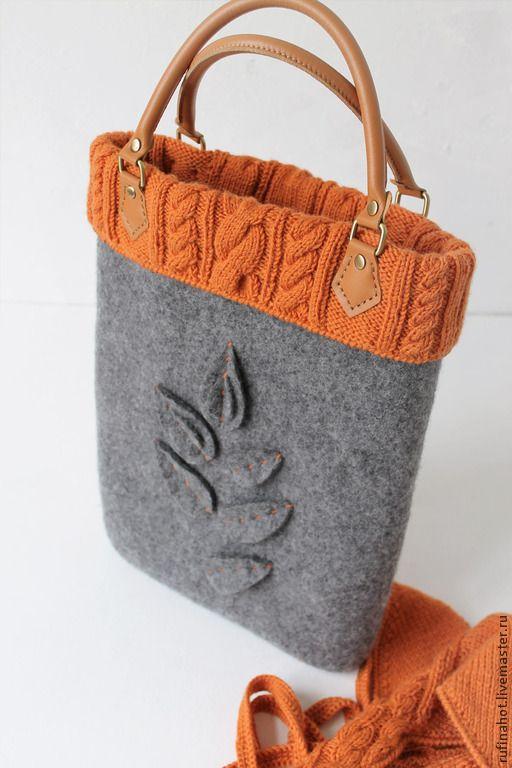 Купить Сумка войлочная и вязаный Бактус. Теплая осень - сумка войлочная, сумка валяная