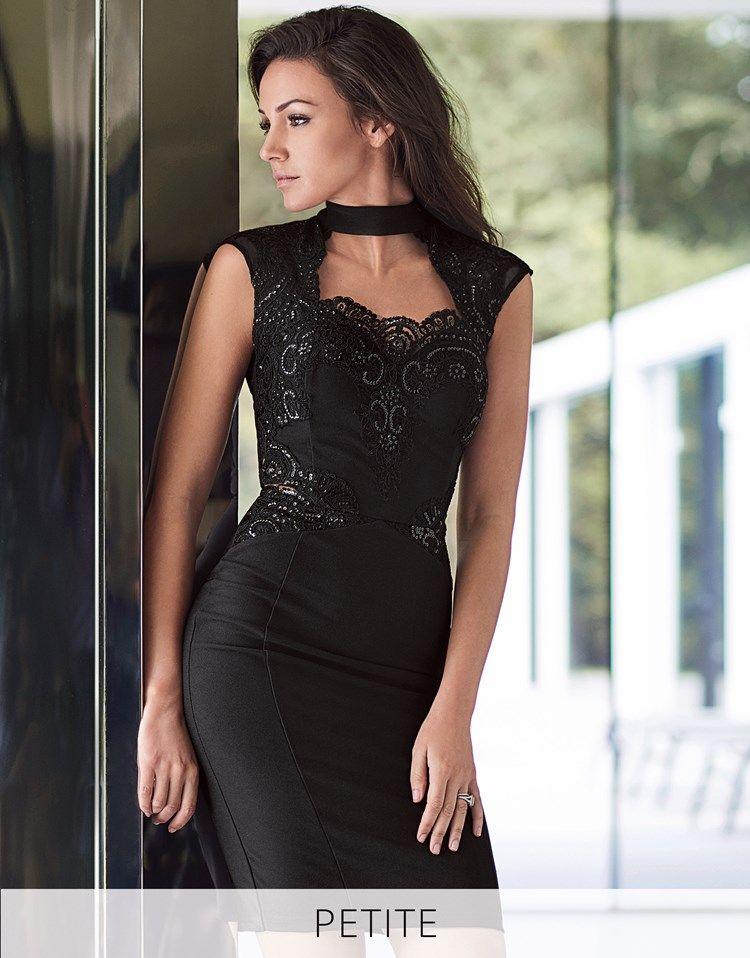 697dd13b5884 Lipsy Love Michelle Keegan Petite Choker Lace Bodycon Dress ...