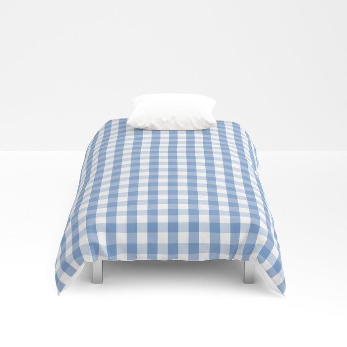 Classic Pale Blue Pastel Gingham Check Duvet Cover Duvet Covers Duvet Gingham Check