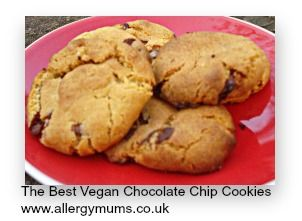 *The best vegan chocolate chip cookies ever!*  These are crisp on the outside, and chewy in the middle.  I used Moo Free chocolate chips which you can find on line at Goodness Direct, or at Waitrose.  http://www.allergymums.co.uk/articles/Best-Vegan-Chocolate-Chip  #vegan #baking #allergies