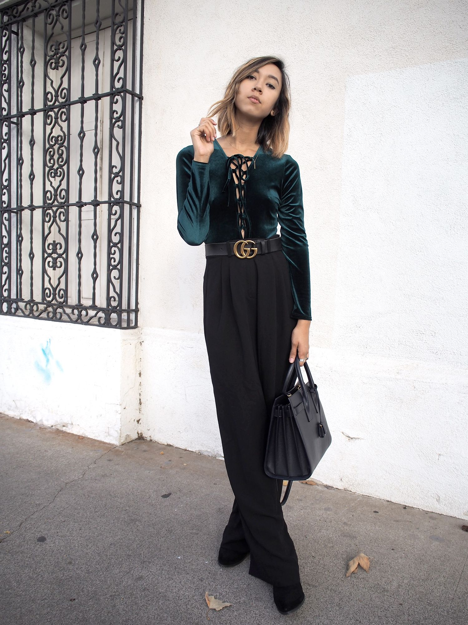 639aa9bfa3 Velvet Lace Up Body Suit Street Style