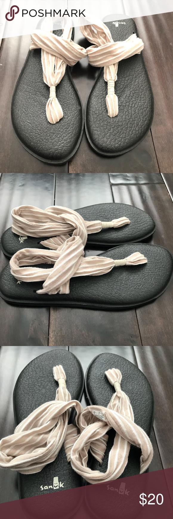 Sanuk Yoga Sling Flat 2 Sandals Women S 8 Taupe Excellent