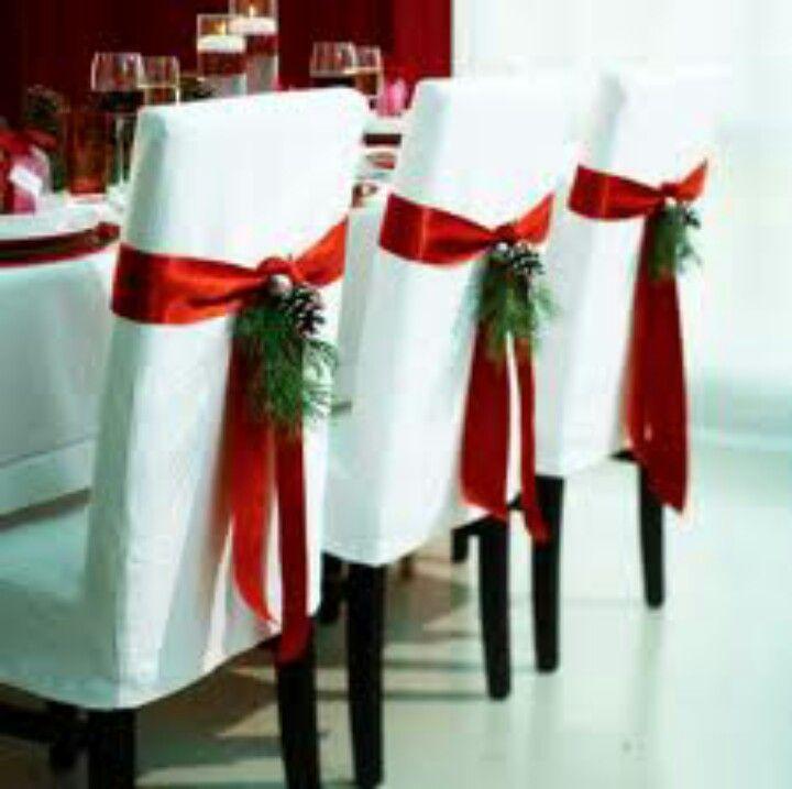 Como Decorar Las Sillas Del Comedor Para Navidad Decoracion Navidena Decoracion Navidad Adornos De Navidad