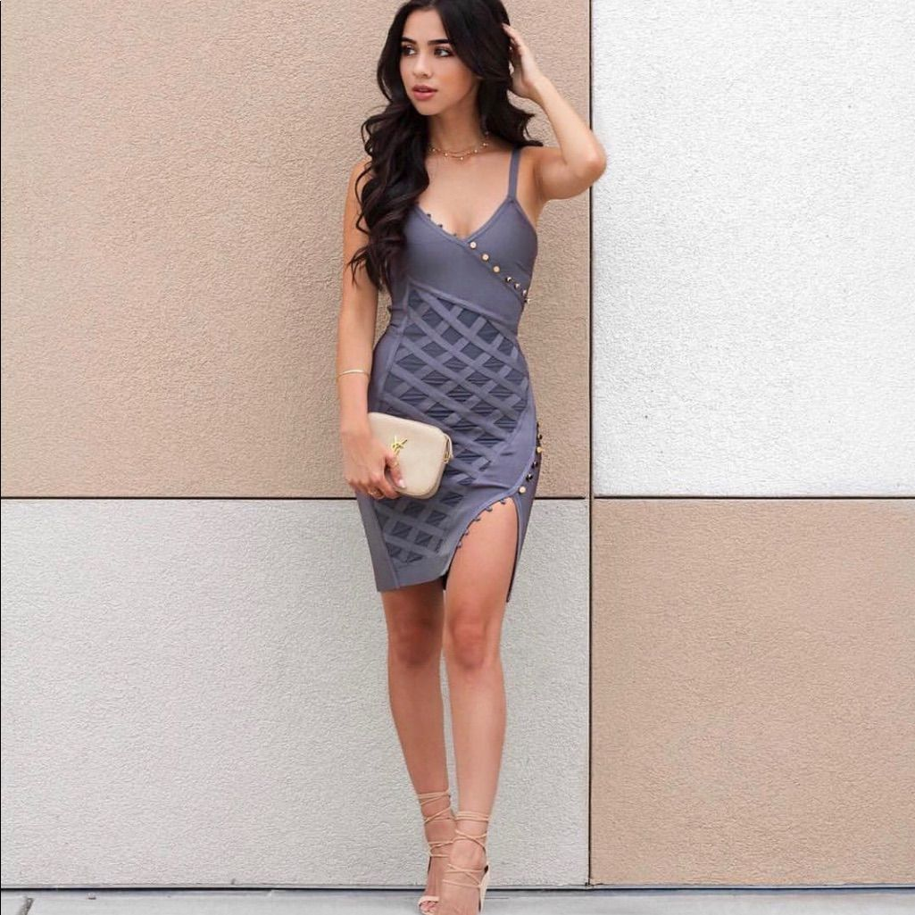 Grey Bandage And Mesh Wrap Dress!!!