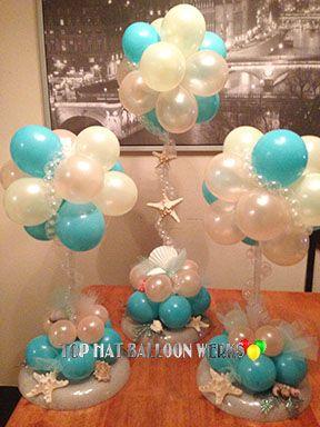 Sea balloon centerpiece iloveballoons pinterest for Balloon decoration how to make