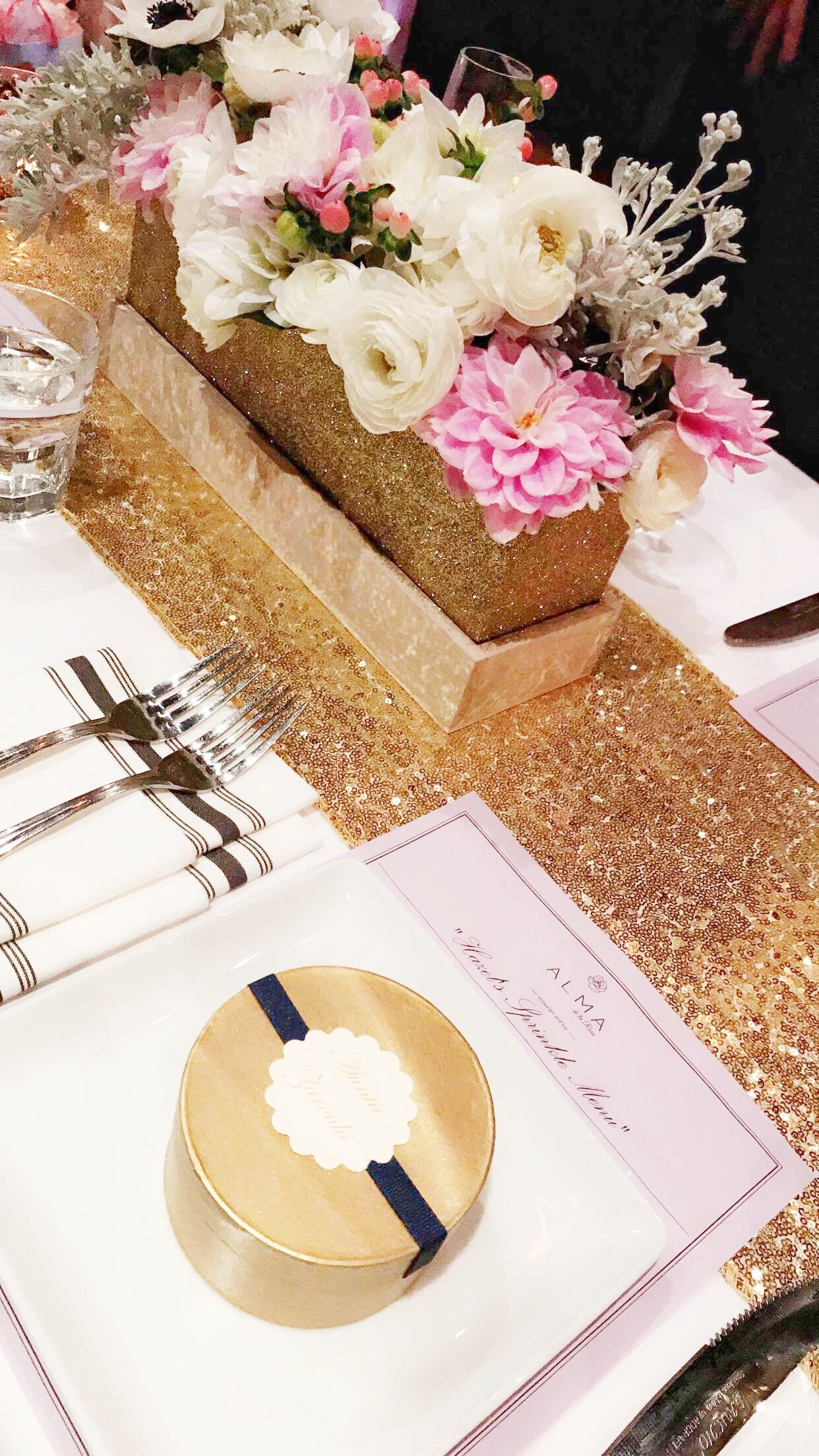 Pink Gold And Navy Table Decor With Sequin Table Runner Pink And