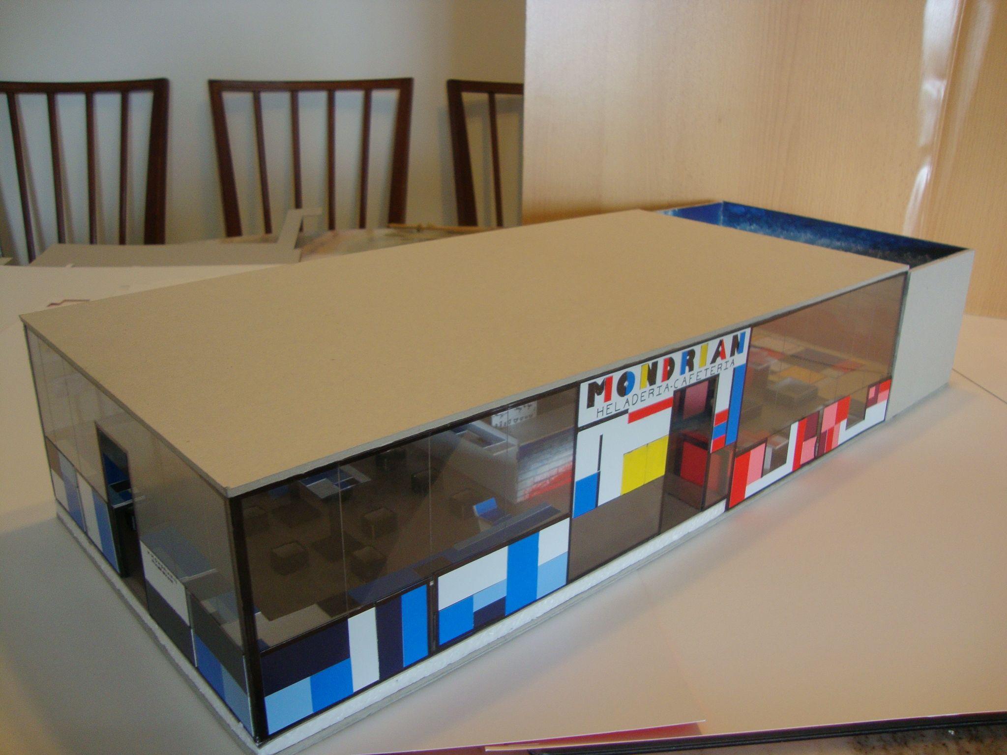 Maqueta Proyecto Bar Heladeria Mondrian Trabajos Personales  # Muebles Heladeria